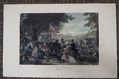 VERY LARGE - Antique Hand Colored Print Engraving - July 4th Celebration - 1876
