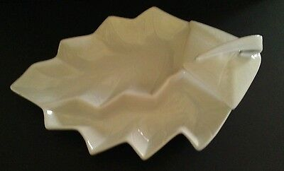 New Ceramic Pottery Calif USA White Leaf Serving Platter Tray 2PC Stamped