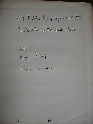 Dr. John Fell Unsigned Booklet 1675 - Bible