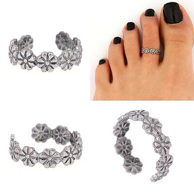 Lady Fashion Simple Retro Flower Design Adjustable Toe Joint Ring Foot Jewelry