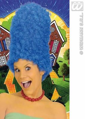 Tall Blue Beehive Marge Wig Curly High Hair Simpsons TV Fancy Dress Party Film