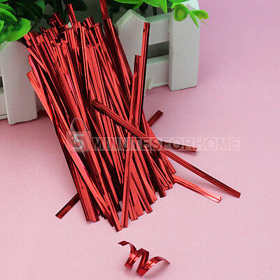 Red 100x Metallic Twist Ties for Cello Candy Bags Cake Pops Party Wedding Gift