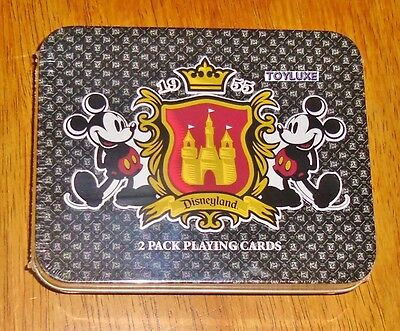 Disneyland 1955 2 Pack PLAYING CARDS Deck in Collectible TIN Box Mickey Set RARE