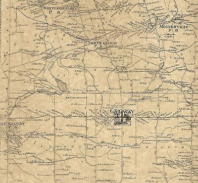 Galway Milton Ballston Spa Rock City NY 1866 Maps with Homeowners Names Shown