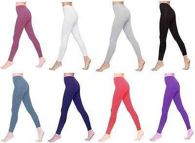 Womens Full Length Cotton Leggings Pants AU Size 6-26 & All Colours