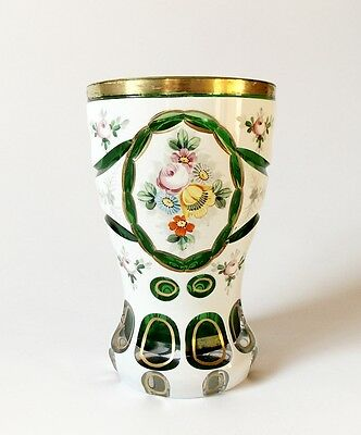 Vintage Glass Neo-Biedermeier Bohemian Gilded Goblet Cup Cut to Green Flowers