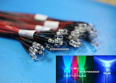 3mm Red/Green/Blue/RGB 3V 5V 12V DC Round Pre-Wired Water Clear LED