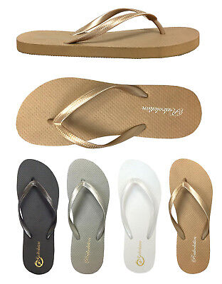 New  Ladies' Plain & Simple Two Tone Beach Flip Flop Sandals -- (**383),