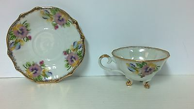 Vintage Napco Footed Opalescent Rose/Gold Tea Cup & Saucer IDD239 Japan
