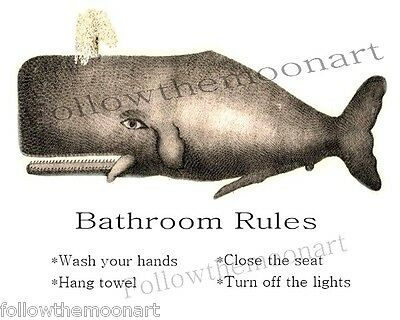 Nautical Vintage Whale Bathroom Rules Wash Your hands Wall Art Print