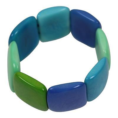 New Tagua Bracelet From Ecuador Blue Green Colour Discs Fair Trade Eco Friendly