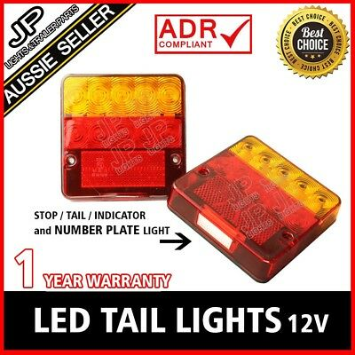 Led Tail Light W/ Number Plate Light Trailer Truck Caravan Square 100X100Mm Pair