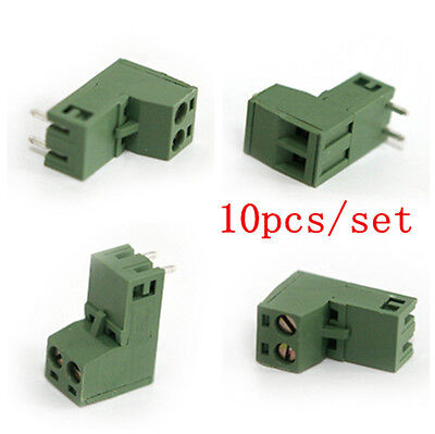 10pcs 5.08mm 2 EDG 2 Pin Plug-in Right Angle PCB Screw Terminal Block Connector