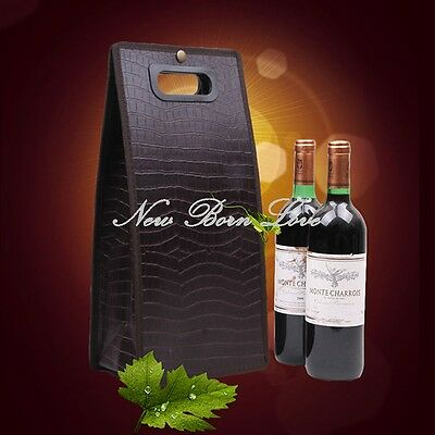 YAZI Brown Crocodile Print Two Bottle Wine Tote Bag Folding Alcohol Carriers