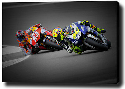 "VALENTINO ROSSI MARC MARQUEZ 30""x20"" CANVAS PRINT POSTER PHOTO MOTOGP WALL ART"
