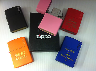 Personalised Colour Matte Zippo Lighters Free Engraving Weddings Birthdays Gift