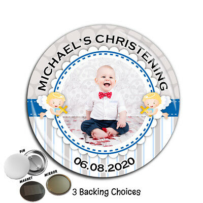 Large 75mm Personalised Boys Christening Baptism PHOTO Badge ~ N60