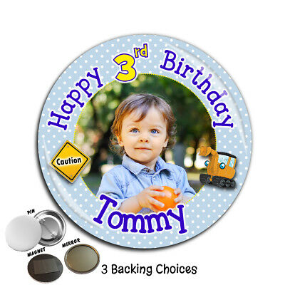Personalised Digger Happy Birthday 75mm Badge N44 Any Age - Pin Magnet Mirror
