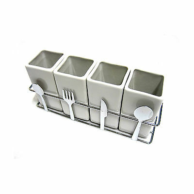 4 Compartments Ceramic Cutlery Organizer Holder Fork Spoon Knife Storage Box