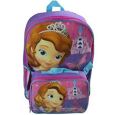 """Disney SOFIA  Large 16"""" School Backpack with Insulated Lunch Bag"""