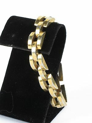 Vtg yellow gold tone bracelet chunky costume thick chain link 7.5""