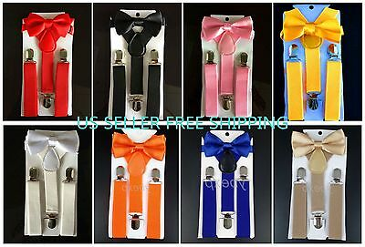 NEW Y Back Elastic Suspenders and Bow Tie Sets for young children Ship from USA