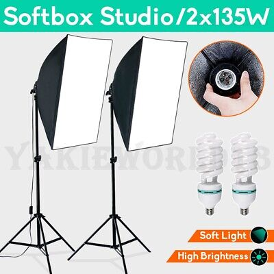 Photography Studio Continuous Softbox Lighting Video Soft Box Light Stand Kit AU