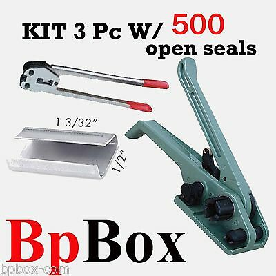 500 open seal KIT5+ Strapping Poly Crimper +Tensioner and Cutter 1/2in to 5/8in