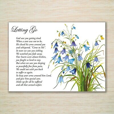 """""""Letting Go"""" A5 White Memorial Grave Card for Male Relations Friends & Freepost"""