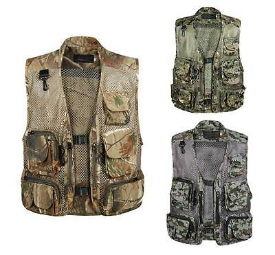 Multi-Pocket Mesh Photography Real Tree Camo Fishing Vest Outdoor Jacket