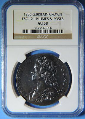 1736 Great Britain England Silver Crown Coin  Plumes & Roses George II NGC AU 58