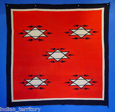 "LARGE SQUARE 54""x54"" Antique c1890 Navajo Germantown Blanket: Rare and XLNT cond"