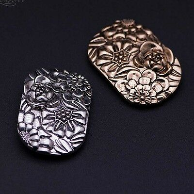 2 pcs pair brass dark silver Emboss Repair Vintage style Shoe Charm Clips SA92