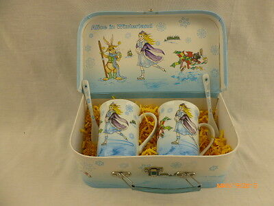 Alice in Winterland Wonderland 2 mugs with spoon set in lunchbox  by Cardew