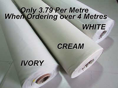 THERMAL BLACKOUT CURTAIN LINING FABRIC - 3 PASS WHITE CREAM IVORY - Per Metre