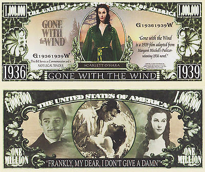 RARE: GONE WITH THE WIND $1,000,000 Novelty Note, Movies Buy 5 Get one FREE