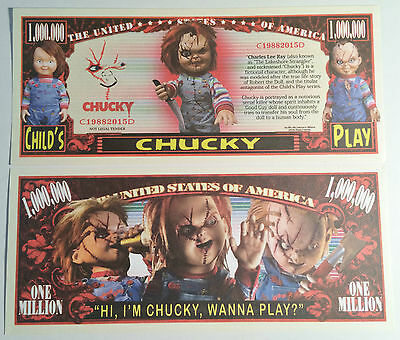 "RARE: ""CHUCKY""  $1,000,000 Novelty Note, Cartoons Buy 5 Get one FREE"
