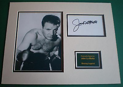 Genuine Jake La Motta Hand Signed Autograph Photo Mounted Display Boxing Legend