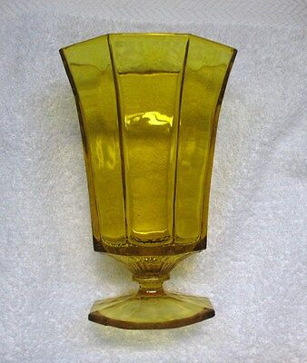 Independence Yellow Amber Octagon Iced Tea Goblet Stemware Indiana Glass