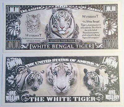 RARE: White Bengal Tiger $1,000,000 Novelty Note, Animals Buy 5 Get one FREE
