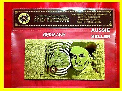 German 10 Mark Gold Germany Banknote 24Kt Gold 99.9 Gold Bank Note