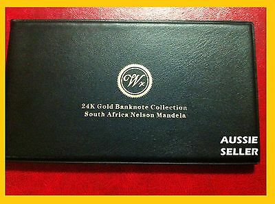 Gift South Africa Gold Album  5 Banknote Very Rare 24Kt 99.9 Bank Note Coa