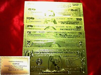 America 24 Kt Gold Banknote 7 Usa Dollar Bill $1 $2 $5 $10 $20 $50 $100 Note