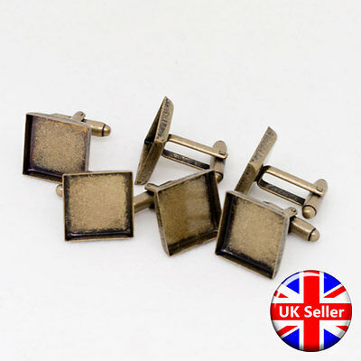 Antique Bronze 16mm Square Cufflink Setting Blanks