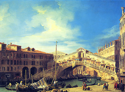 """Canaletto : The Grand Canal Rialto Bridge From South Venice 24"""" Canvas Art Print"""
