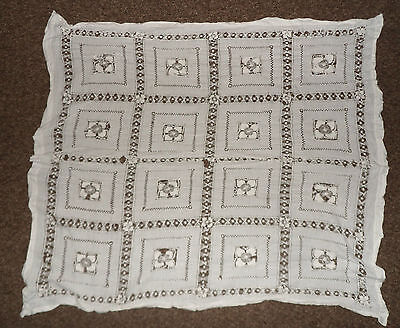 """VINTAGE cotton lace embroidered table cloth 44 x 44"""" 112 x 112 cm shabby chic"""