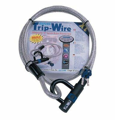 Oxford Trip Wire Bicycle Bike Cycle  Cable & Integral Lock Padlock 1.6m OF334 T