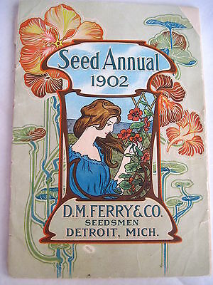 """Gorgeous """"Seed Annual 1902"""" w/ Great Pictures of Veggies & Flower - Art Nouveau*"""