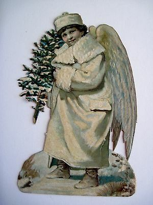 "Antique Victorian Vintage Die-Cut Scrap ""Snow Angel"" w/ A White Coat & Tree *"