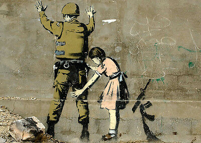 ACEO Banksy Girl Searching Soldier Graffiti Street Art on Canvas Giclee Print